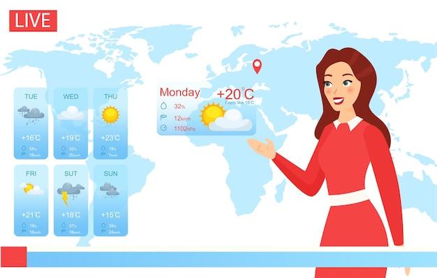 Conduttore meteorologico televisivo. donna attraente del fumetto che riferisce sui cambiamenti climatici nelle notizie,