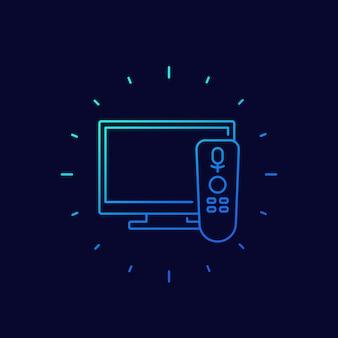 Tv con icona di controllo vocale, lineare