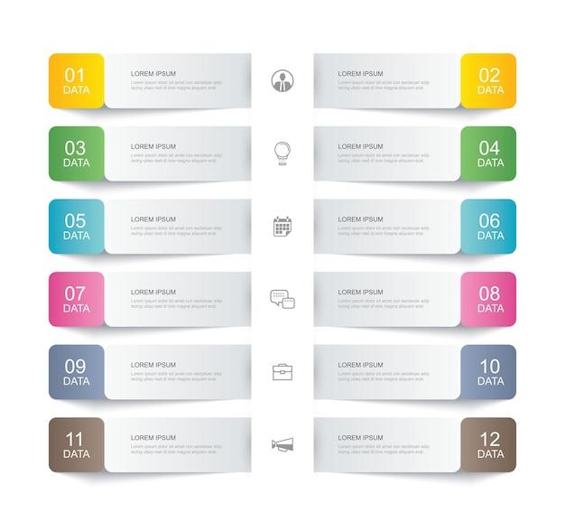 Dodici dati infografica scheda carta sottile modello di indice di linea. può essere utilizzato per il layout del flusso di lavoro, passaggio aziendale, banner, web design.