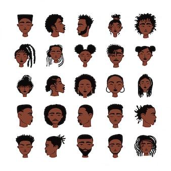 Venticinque personaggi di avatar di persone etniche afro