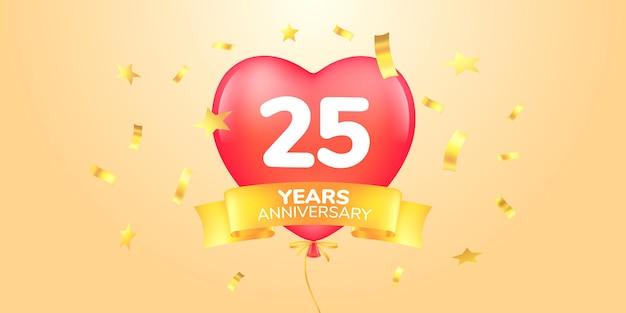Bandiera di celebrazione di anniversario di venticinque anni con mongolfiere