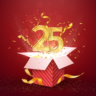 Venticinque anni numero anniversario e confezione regalo aperta con elemento di design isolato coriandoli esplosioni