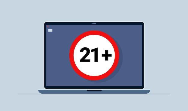 Ventuno segno più rotondo su laptop con contenuto proibito. 21. contenuti per adulti. vettore