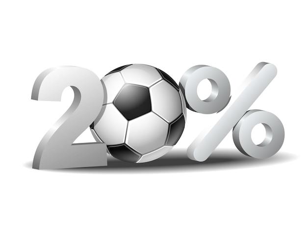 Icona di sconto del venti percento con pallone da calcio