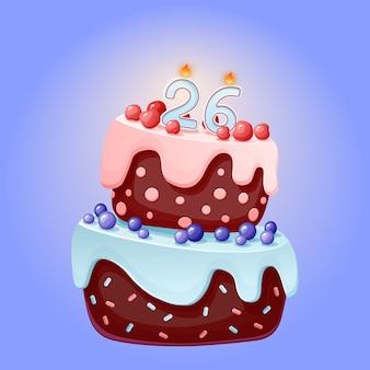 Ventisei anni compleanno torta festiva simpatico cartone animato con numero di candela