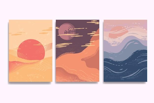 Collezione di copertine giapponesi di twilight paesaggi