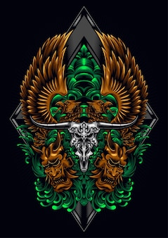 Twin eagle bull skull illustrazione