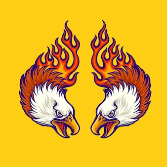 Aquila gemellare con l'illustrazione del tatuaggio delle fiamme