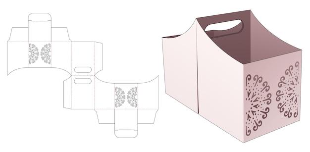 Contenitore per snack con bordo curvo a doppia maniglia con sagoma fustellata mandala stampata