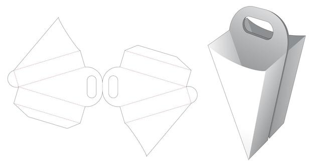 Modello fustellato per contenitore fritto francese a forma triangolare con doppio manico