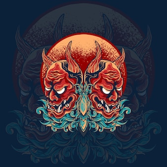 Twin hannya mask illustrazione giapponese