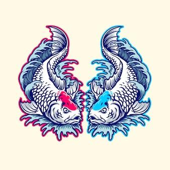 Illustrazione giapponese di koi doppia