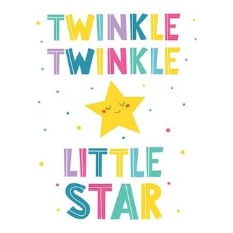 Iscrizione disegnata a mano di twinkle twinkle little starbanner per il design di compleanno dei bambini