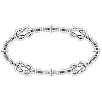 Ovale in corda intrecciata - telaio ellittico con nodi