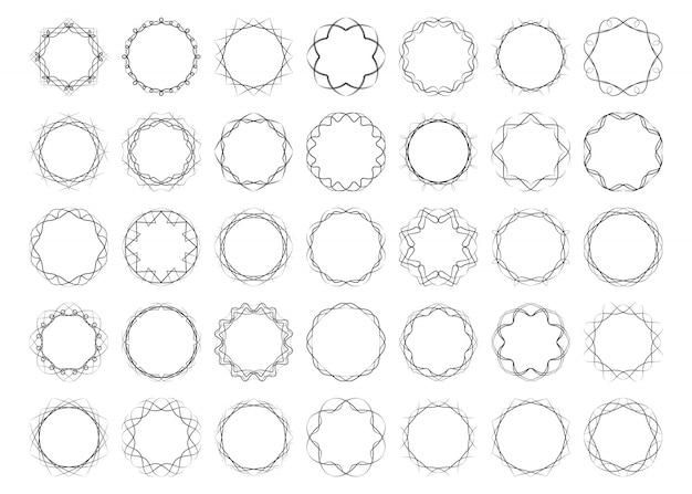 I telai calligrafici rotondi contorti hanno messo gli elementi astratti
