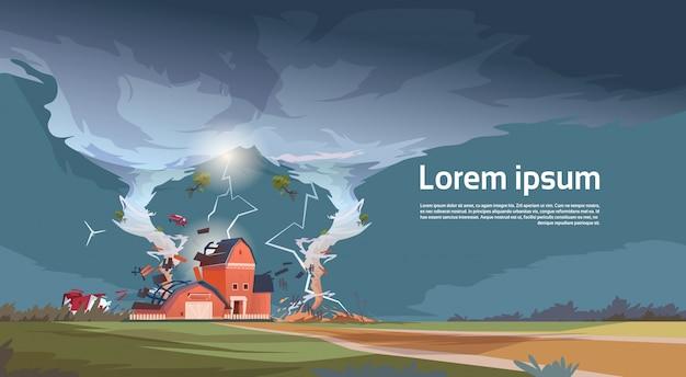 Tornado di torsione che distrugge il paesaggio di uragano dell'azienda agricola del tromba d'acqua della tempesta nel concetto di disastro naturale della campagna Vettore Premium
