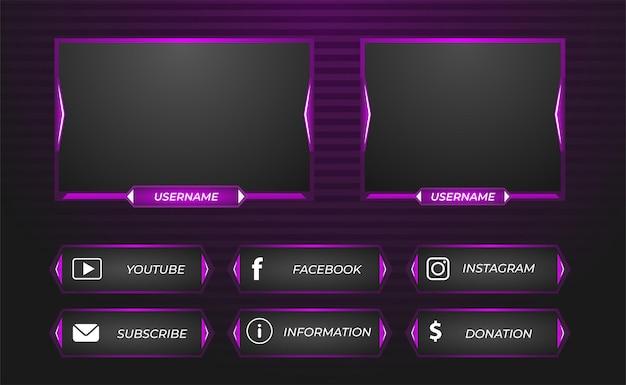 Overlay del pannello di streaming di gioco twitch in viola