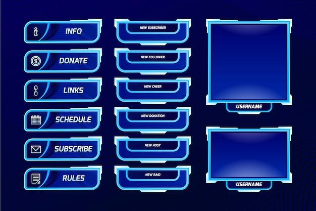 Set di pannelli twitch stream Vettore Premium