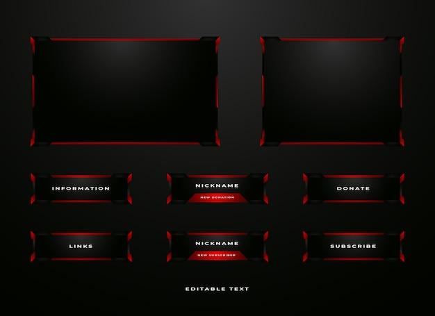 Set di overlay del pannello streamer twitch