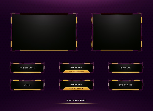 Set di design del pannello di streaming twitch