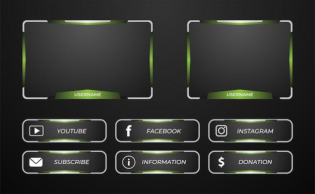 Overlay del pannello di streaming twitch nei colori verde e argento
