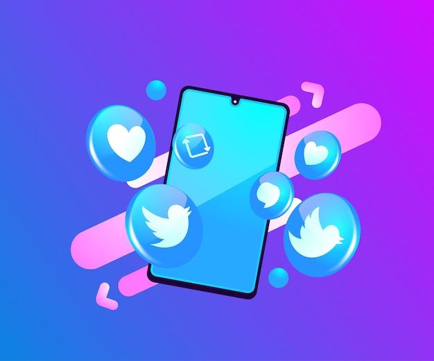 Twitter 3d social media icone con il simbolo dello smartphone