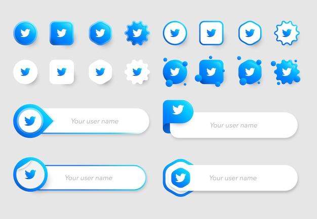 Icone di twitter e raccolte di modelli di banner