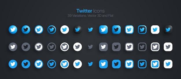 Icone di twitter impostate 3d moderne e piatte in diverse varianti