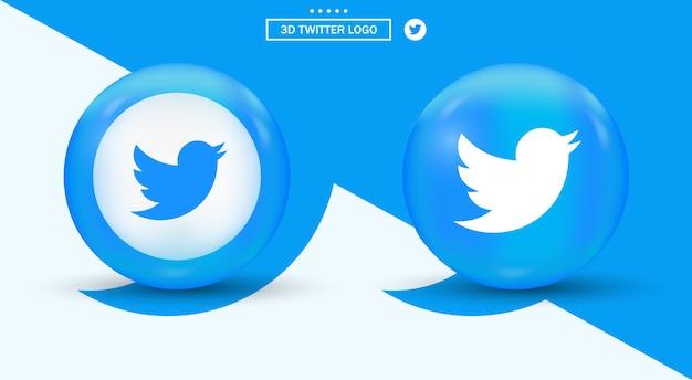 Twitter logo in circle logotipo di social media in stile moderno
