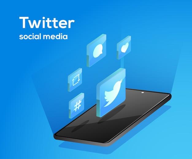 Twitter icone social media con lo smartphone
