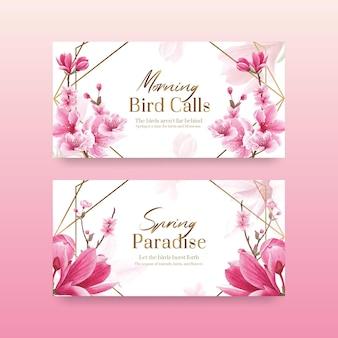 Modello di twitter con l'illustrazione dell'acquerello di progettazione di concetto dell'uccello del fiore