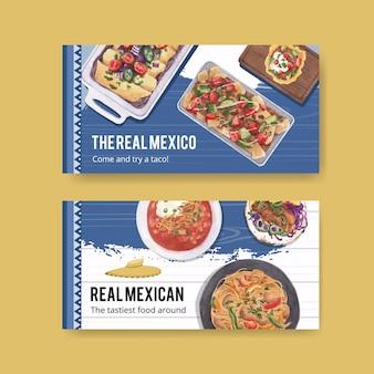 Modello di twitter con illustrazione dell'acquerello di concetto di cucina messicana