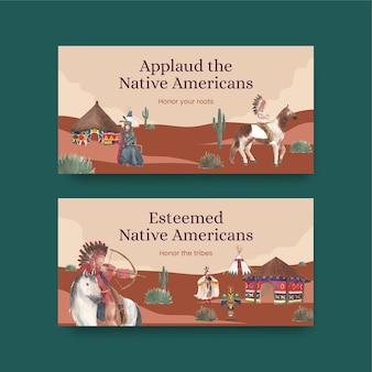 Modello di twitter con nativi americani in stile acquerello