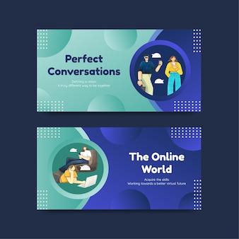 Modelli di twitter impostati con il concetto di conversazione dal vivo, stile acquerello