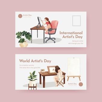 Modelli di twitter con la giornata internazionale degli artisti in stile acquerello