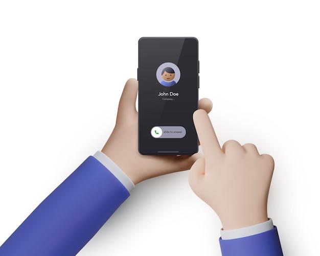 Due mani 3d con un telefono isolato su uno sfondo bianco. il telefono in mano e la lancetta dei secondi indicano l'azione sullo schermo. illustrazione vettoriale
