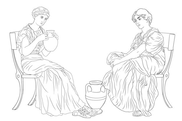 Due antiche donne greche si siede su una sedia e beve vino da una brocca figura isolata su sfondo bianco