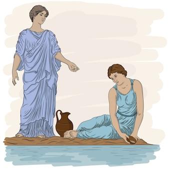 Due antiche donne greche in tunica vicino al fiume riempiono una brocca d'acqua e parlano