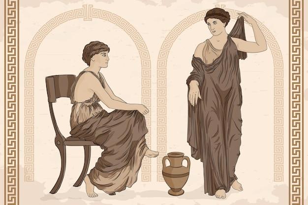 Due antiche donne greche in tunica parlano vicino a una brocca di vino.