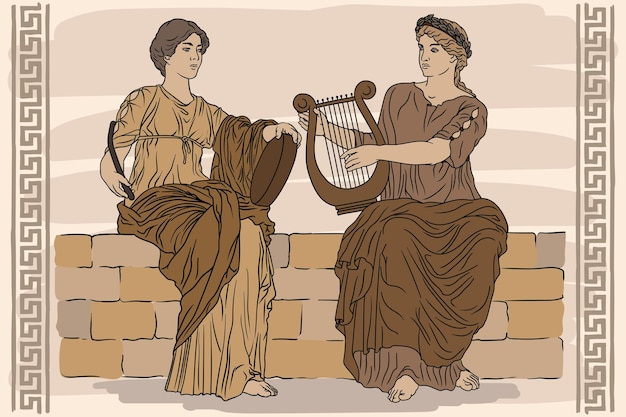 Due donne greche antiche con corone di alloro in testa e con arpe e tamburello in mano stanno suonando musica.