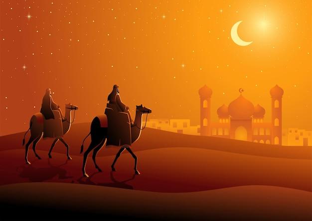 Due uomini arabi che cavalcano cammelli nel paesaggio notturno del deserto per il ramadan e il tema islamico