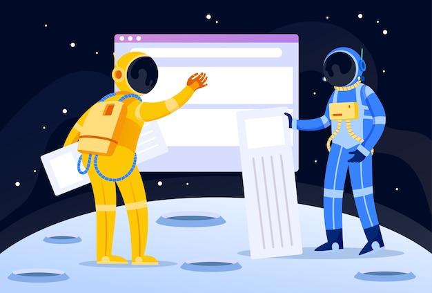 Due astronauti che costruiscono una pagina di concetto dell'illustrazione del sito web