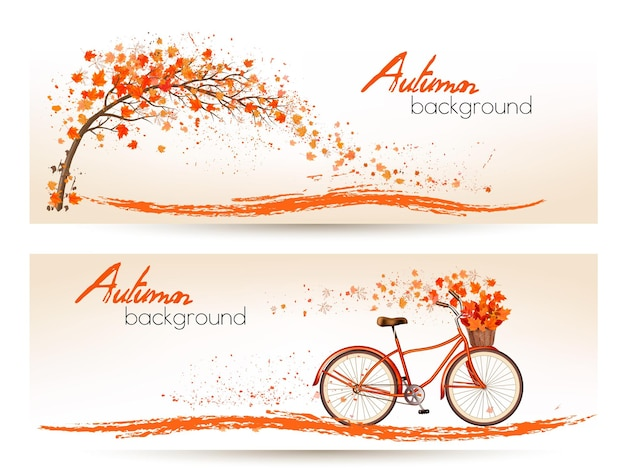 Due striscioni autunnali con foglie colorate e bicicletta vector