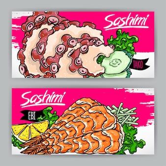 Due striscioni con diversi tipi di sashimi. gamberetti e polpi. illustrazione disegnata a mano