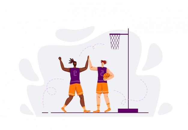Due giocatori di basket con palla giocando, buon lavoro di squadra e felicità