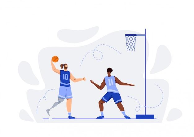 Due giocatori di basket con palla giocando