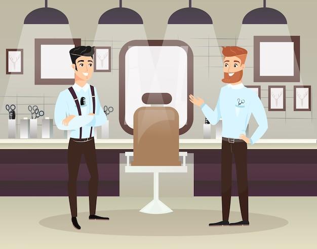 Due barbieri barbuti che fanno taglio di capelli maschile clienti nel salone di bellezza. interiore del negozio di barbiere