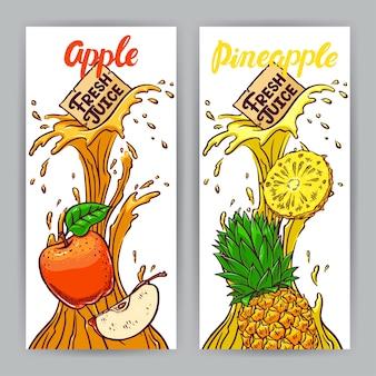 Due bellissimi striscioni. succo fresco. mela e ananas. illustrazione disegnata a mano