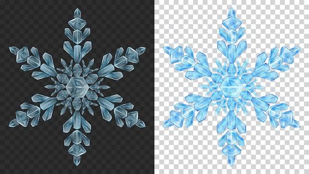 Due grandi fiocchi di neve di natale trasparenti complessi in colori blu chiaro per l'uso su sfondo scuro e chiaro light