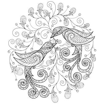 Due uccelli. illustrazione disegnata a mano per libro da colorare per adulti